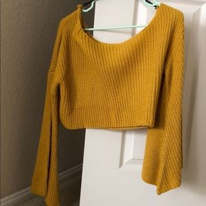 Off shoulder yellow sweater